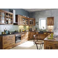 Eckunterschrank für die Küche aus massivem Sheeshamholz, B 146 cm