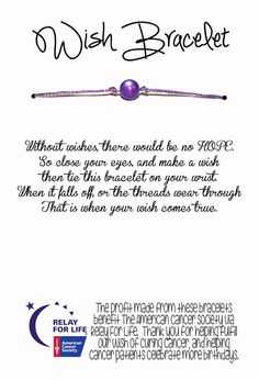 Relay For Life Wish Bracelet Fundraising / Gift by 1GreatThing