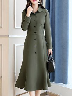 Buy Casual Dresses Midi Dresses For Women from Misslook at Stylewe. Online Shopping Stylewe Formal Dresses Long Sleeve Casual Dresses Work Sheath Shirt Collar Work Buttoned Dresses, The Best Work Midi Dresses. Discover unique designers fashion at stylewe. Simple Dresses, Elegant Dresses, Casual Dresses, Dresses For Work, Dresses With Sleeves, Midi Dresses, Midi Dress Work, Green Midi Dress, Fashion Dress Up Games