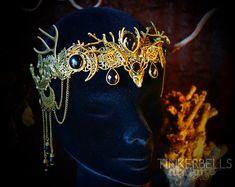 Tiara Diadem Krone Antik-Bronze schwarz Halbmond Luna