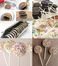 Yummy Sprinkled Oreo Cookies and Pops - www. , kids party Yummy Sprinkled Oreo Cookies and Pops - www. Oreo Cake Pops, Cookie Pops, Oreo Frosting, Kreative Desserts, Oreo Biscuits, Salty Cake, Chocolate Covered Oreos, Chocolate Tarts, Oreo Cookies
