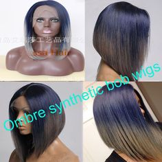 Cheap wig carnival, Buy Quality wig cap wig directly from China wig shipping Suppliers:     Two-tone ombre synthetic bob wigs short straight blue to grey ombre synthetic lace front bob wigs heat resistant for