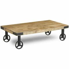 Reclaimed Wood Industrial Cart Wheels Coffee Table (India)