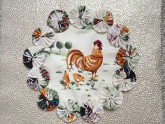 Chickens Down on the Farm Doily Candle Mat by SursyShop on Etsy, $8.00