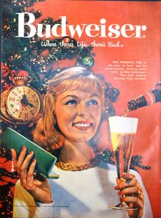 1958 Budweiser Beer Vintage Print Ad - That Wonderful Time - Christmas - Where there's life there's Bud!
