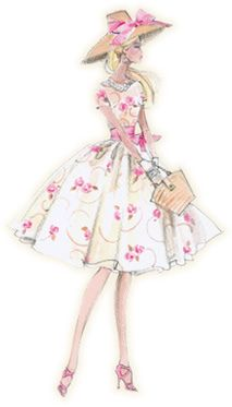 """Silkstone Garden Party"" ~~ Fashion Illustration by ~Robert Best~ [Posted by MyLifeInPlastic.com - February 27 2009]'h4d'120922"