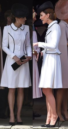 Duchess of Cambridge and Queen Letizia of Spain in Chic Monochrome for the Order of Garter Service Kate Middleton Fashion, Kate Middleton Shoes, Kate Middleton Queen, Looks Kate Middleton, Estilo Kate Middleton, Classy Outfits, Beautiful Outfits, Cool Outfits, Elizabeth Queen