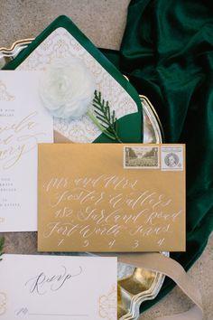 emerald-gold-wedding-invitation