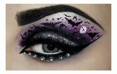 DIY Halloween Makeup : Eyes and eye make up Eye Makeup Designs, Eye Makeup Art, Goth Makeup, Eye Art, Makeup Eyeshadow, Purple Eyeshadow, Beauty Makeup, Eyeshadow Ideas, Glitter Eyeshadow