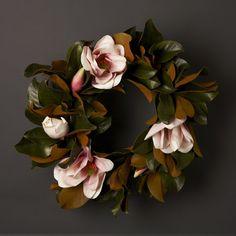 Pink & green magnolia wreath