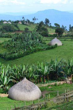 Traditional Sidama houses in Ethiopia. https://ExploreTraveler.com