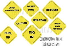 Construction Party Signs Printables
