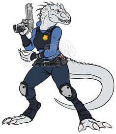 An anthro Indominus Rex dressed as Judy Hopps from Zootopia.