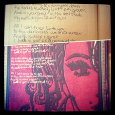Amy Winehouse journal by @Paperblanks, with a self-portrait and handwritten lyrics by Amy