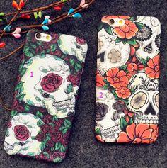 Creative skeleton flower cell phone case for iPhone 7 7 plus iPhone 6, iPhone 6S, iPhone 6 Plus, iPhone 6S Plus + Nice Gift Box !