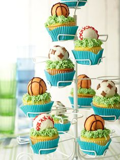 Use doughnut holes for the ball! Great for sports themed parties!
