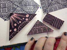 I like this idea for using left over sections of crazy cut lino material...