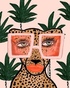 Tropical Glam Cat Print – Bouffants And Broken Hearts Cat Art Print, Framed Art Prints, Photo Wall Collage, Collage Art, Animal Drawings, Art Drawings, Frida Art, Art Inspo, Illustration Art