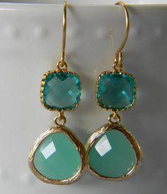 Mint Aqua Pacific Opal Earrings Trimmed in Gold  by Greenperidot, $26.50