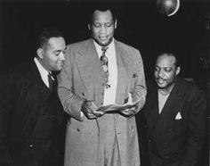 "Novelist Richard Wright, singer and actor Paul Robeson, and jazz/swing band leader Count Basie all collaborated on an ode to boxer Joe Louis, ""King Joe"" Richard Wright Author, Joe Louis, African American Culture, Soul Train, Renaissance Men, People Of Interest, Opera Singers, African Diaspora, Interesting Faces"