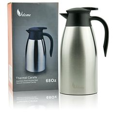 Thermal Carafe 68Oz Stainless Steel Double Walled Insulated Vacuum Thermos with Lid for Coffee Tea By Velcare >>> Read more reviews of the product by visiting the link on the image. (This is an affiliate link)