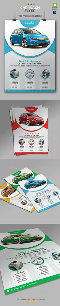 Car Wash Flyer Template 01 by Ahmadgfx This Clean and professional Car Wash Flyer 01 can helpand promote your car wash services, easy to use Features04 PSD file included