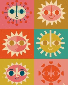 """Good morning! """"Here come the suns"""" by #EricComstock. Very Mary Blair influenced, a la """"It's A Small World."""" ☀️⛅️ #butchwaxstyle"""