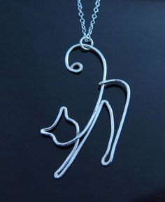 Wire Cat Necklace-Cat Woman Gift-Cat Lover by PurplePoemCraft
