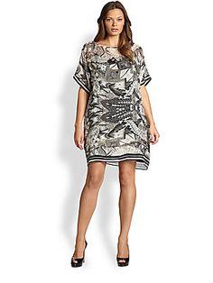 Fuzzi, Sizes 14-24 Silk Fishnet-Print Dress (saksfifthavenue.com)