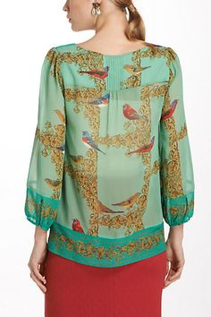 Wonderful Warbler top from Anthropologie.  Love the tucks in the yoke and use of border print.