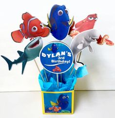 Finding Dory and Finding Nemo Birthday Party Decoration Centerpieces by KidsInvitations on Etsy https://www.etsy.com/listing/449065378/finding-dory-and-finding-nemo-birthday