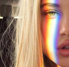 blond, girl, lip, rainbow