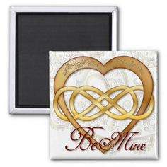 Double Infinity Gold Heart 1 - Sq. Magnet #doubleinfinity