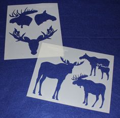 Moose Stencils -Mylar 2 Pieces of 14 Mil X - Painting /Crafts/ Templates - to get discount detox tea Moose Decor, Moose Art, Deer Head Stencil, Quilting Templates, Templates Free, Buck Deer, Love Coupons, Hexagon Quilt, Shirt Quilt
