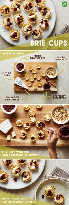 One of the best parts of Thanksgiving is munching on appetizers before dinner is ready. And these Brie Cups from Publix might become the new favorite. They're so easy to make. Just fill crispy mini phyllo cups with Deli Brie cheese. Top with raspberry pre Appetizer Dips, Appetizer Recipes, Cheese Appetizers, Thanksgiving Recipes, Holiday Recipes, Tapas, Phyllo Cups, Menu, Nutrition