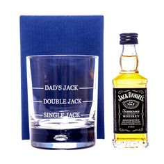 Engraved SINGLE/DOUBLE JACK Glass + Miniature