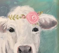 Add this charming little cow to your farmhouse decor in any room! Adorable in a little girls room or your dining room! Framed with aged barnwood accent -- Handmade from 100year old wood! This little cutie is painted by me in acrylics on canvas. Measures approx 12 x 12 Some variation