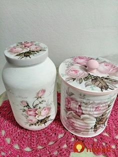 Discover thousands of images about Decoupage Diy Bottle, Wine Bottle Crafts, Mason Jar Crafts, Bottle Art, Decoupage Jars, Decoupage Vintage, Decoupage Ideas, Tin Can Crafts, Diy And Crafts