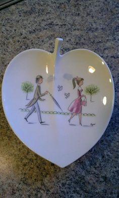 Vintage Peynet Rosenthal Germany Porcelain Lover Leaf Shape Trinket