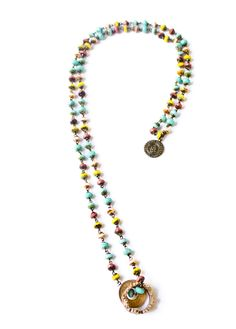 """Royalty reigns in this vintage inspired necklace with mulit-colored Czech glass beads that hold our vintage brass crown and 1940's amusement park token necklace. 33"""" #jewelryforacause #findacure"""