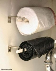 Perfect way to store garbage bags under a sink or in the garage: #DIY #home