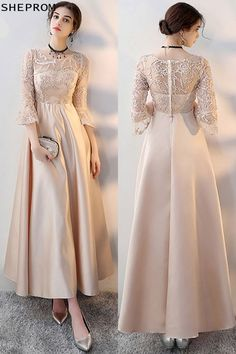 Shop Champagne Long Formal Dress Aline with Sleeves online. SheProm offers formal, party, casual & more style dresses to fit your special occasions. Trendy Dresses, Elegant Dresses, Beautiful Dresses, Nice Dresses, Fashion Dresses, Formal Dresses With Sleeves, Dress Brokat, Kebaya Dress, Kebaya Brokat