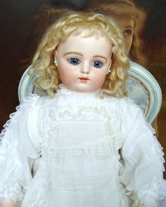 Gorgeous and sweet antique early F.Gaultier bebe with rare kid body from les-fees-du-temps on Ruby Lane