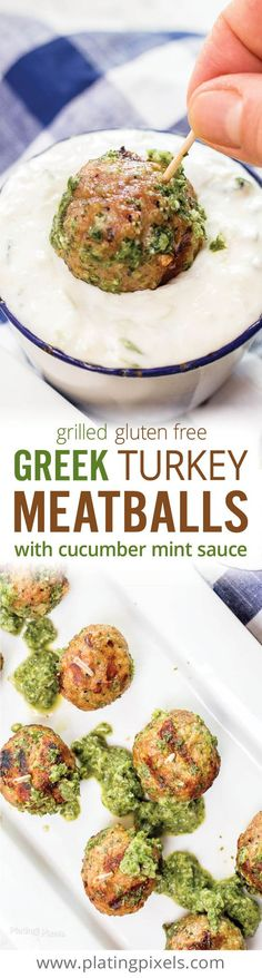 Easy authentic Greek Turkey Meatballs with Cucumber Mint Sauce. Juicy grilled turkey meatballs paired with homemade tzatziki. A healthy and flavorful appetizer that will wow your guests this summer. Clean eating with gluten free option. Made with @honestturkey - (ad) #SpiceUpGrilling, #IC www.platingpixels.com