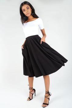 Classier Act Pocket Midi Skirt ($99AUD) by BlackMilk Clothing