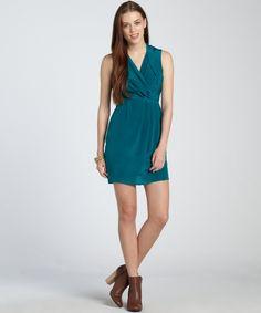 Greylin teal silk crepe 'Camila' v-neck dress   BLUEFLY up to 70% off designer brands (too short?)