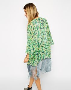 Enlarge ASOS Longline Kimono in Floral with Fringing