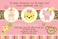 Zoo Party Pink Sweet Safari - Birthday Party Invitations - girl or boy - ANY AGE. $13.00, via Etsy.
