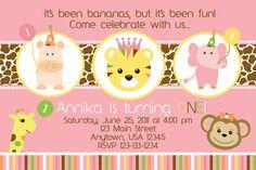 Zoo Party Pink Sweet Safari - Birthday Party Invitations - girl or boy - ANY AGE. $13.00, via Etsy.