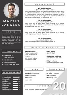 Modern CV sjabloon. Zelf te bewerken in MS Office. Inclusief bijpassend sollicitatiebrief sjabloon. Direct downloadbaar: http://deleydsche.nl/product/cv-sjabloon-20
